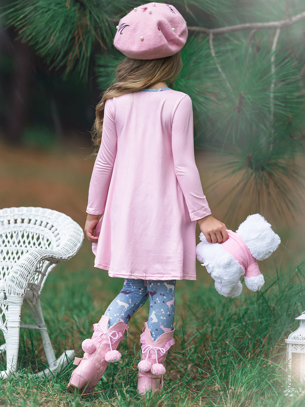 Girls Winter Themed Hi-lo Long Sleeve Tunic with Printed Slouchy Pockets & Matching Leggings Set