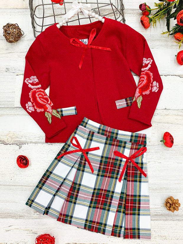 Girls Faux Pocket Flower Applique red Blazer & Plaid Pleated Skirt Set