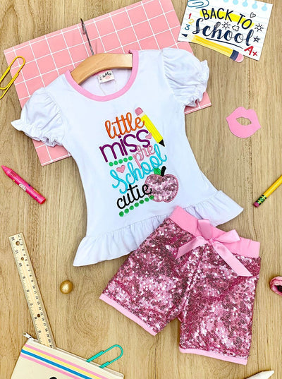 "Girls 1st Day of School ""Little Miss Preschool Cutie""  Ruffled Top & Sequin Shorts Set"