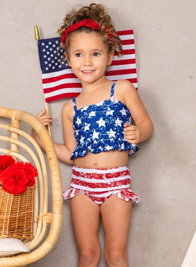 girls two piece swimsuit USA flag 4th of July top stars bottom stripes 2T-10Y