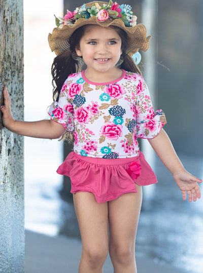 Girls Floral Ruffled Top and Skirted Bottom Rash Guard Two Piece Swimsuit - Girls Two Piece Swimsuit