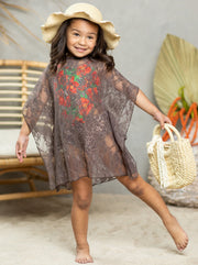 girls brown lace cover up 2T-3T to 10Y-12Y