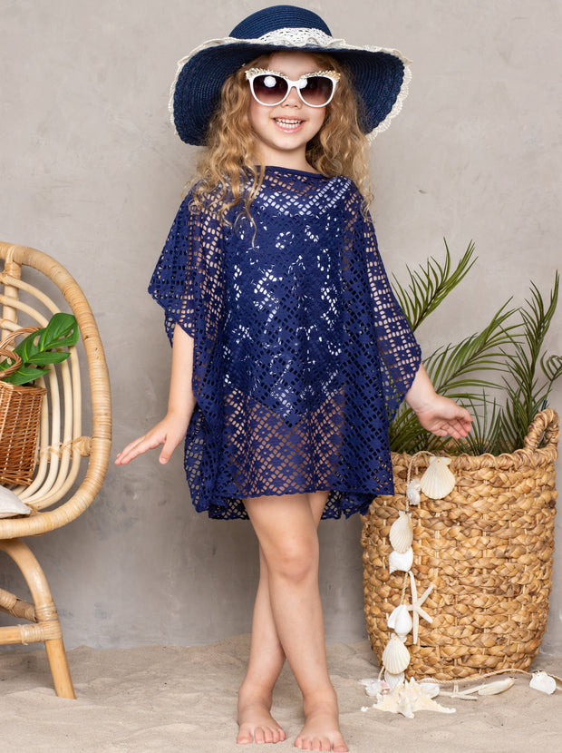 girls navy lace cover up 2T-3T to 10Y-12Y