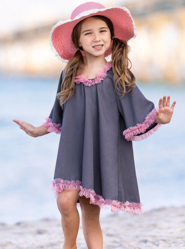 girls grey and pink cover-up 2T/3T to 7Y/8Y