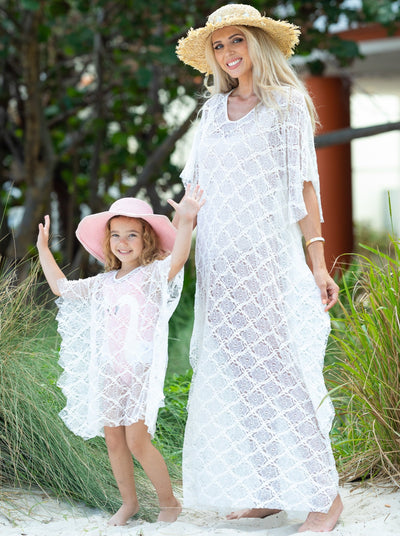 White lace mommy and me kaftan