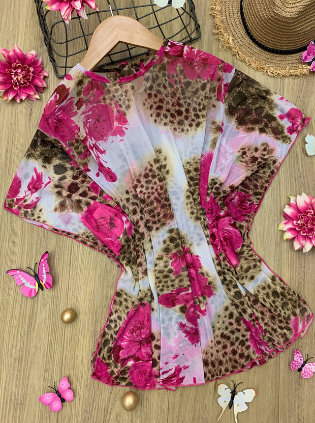 girls cover up leopard and floral print 2T/3T to 10Y/12Y
