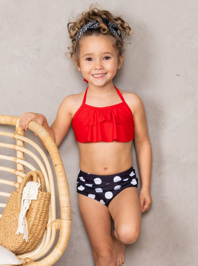 Girls Ruffled Top and Polka Dot Print High Waisted Bottoms Two Piece Swimsuit 3T-14Y