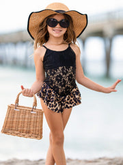 Girls Lace with Leopard Ruffle One Piece Swimsuit 2T-6Y