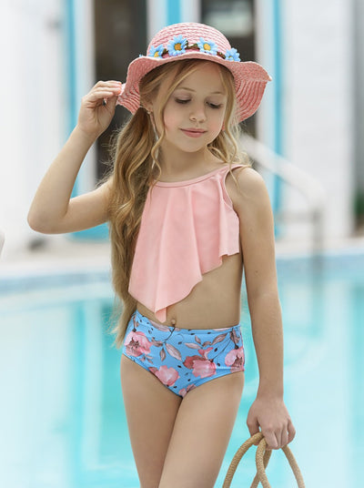 Girls Print Ruffled Top and High Waist Bottoms Two Piece Swimsuit 3T-14Y pink