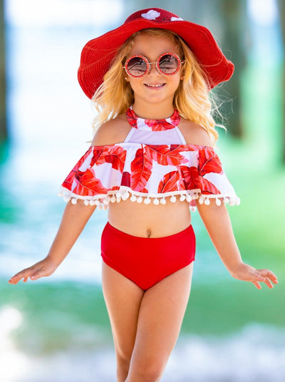 Girls Leaf Print Mesh Ruffled Top and High Waist Bottoms Two Piece Swimsuit 3T-14Y