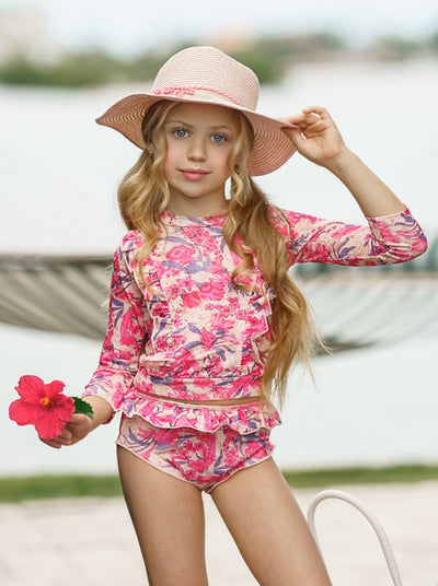 Girls Ruffled Rash Guard Top and Ruffled Bottom Two Piece Swimsuit 3T-7Y Hot Pink