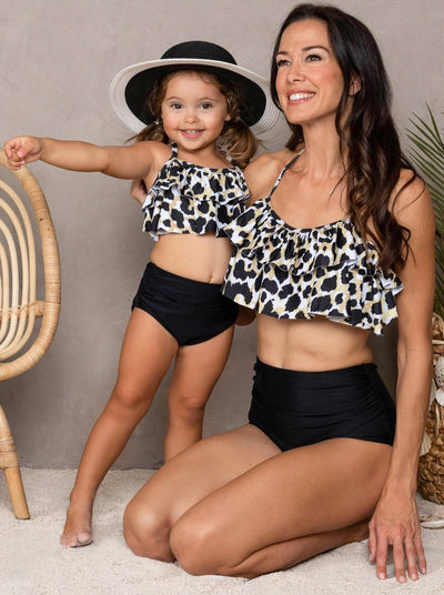 Mia Belle Mommy & Me Black Floral Tiered Ruffle Two Piece Swimsuit 2T-Mom-S