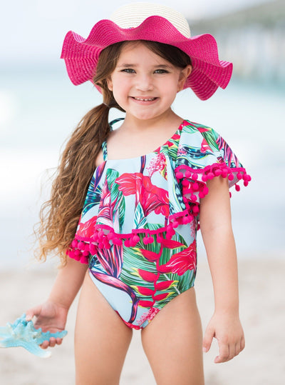 Girls Spring Turquoise One-piece Swimsuit with one shoulder and cute tropical leave and flowers prints 2T/3T to 10Y/12Y