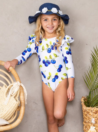 Girls Zipper Ruffled Shoulder Rash Guard One Piece Swimsuit 3T-8Y white with cherries