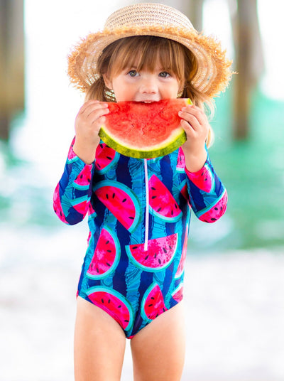 Girls Zipper Rash Guard One Piece Swimsuit and Matching Swim Cap Set 2T-7Y