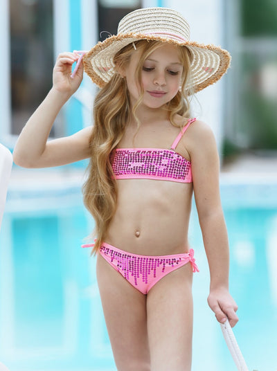 Girls Sequin Two Piece Swimsuit pink