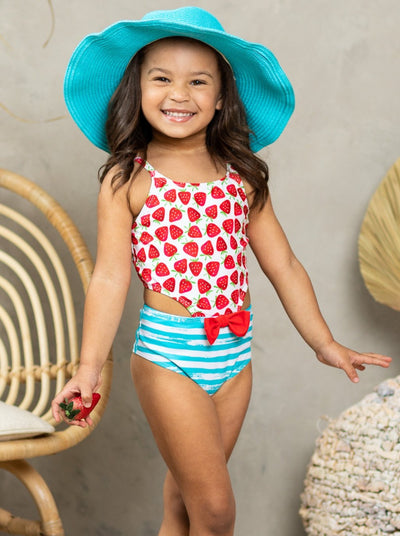Girls Juice Strawberry One Piece Swimsuit 2T-10Y bodice white with strawberries and bottom stripped bow