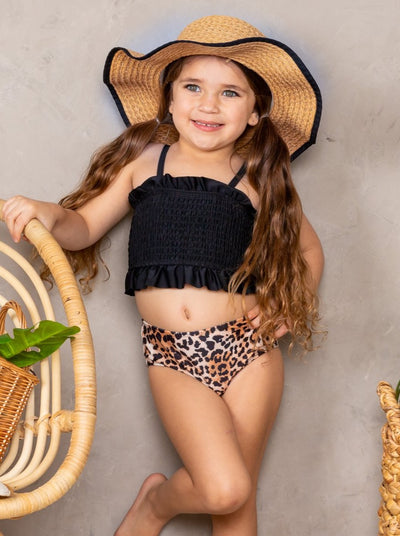 Girls black Stretchy Bandeau and High Waisted Animal Print Bottoms Two-Piece Swimsuit 2T-10Y