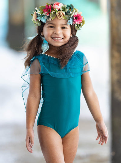 Girls Blue Sheer Ruffle One Piece Swimsuit 2t-8Y