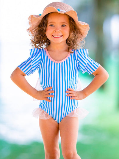 girls one piece swimsuit ruffled shoulder strips white and blue 2T-8Y