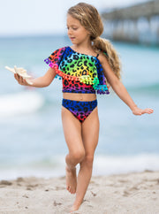 Girls Spring Two-piece Swimsuit with one shoulder and cute neon leopard prints 2T/3T to 10Y/12Y