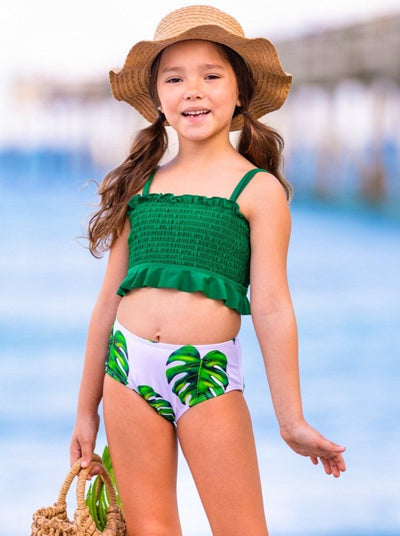 girls two piece swimsuit green bandeau with white bottoms with green leaf print 6Y-14Y