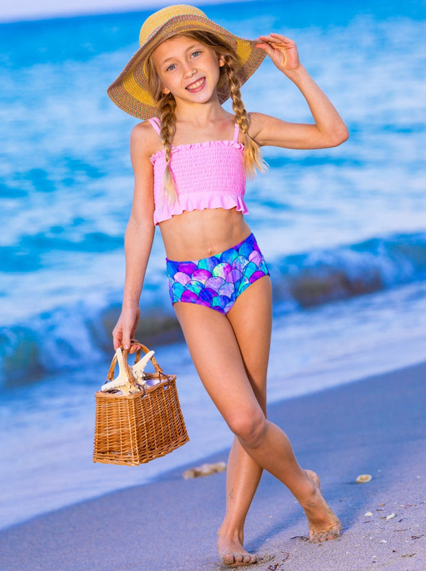 Girls Stretchy Bandeau and High Waisted Mermaid Bottoms Two-Piece Swimsuit 6Y-14Y