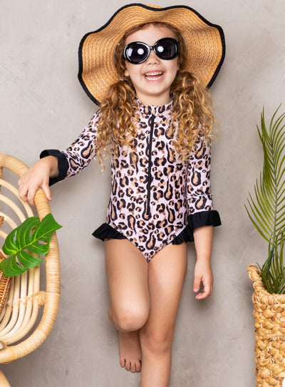 Girls Leopard Print Rash Guard One Piece Swimsuit 2T-10Y