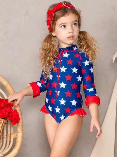 girls one piece rash guard swimsuit front zipper patriotic blue stars and ruffles 2T-1oY