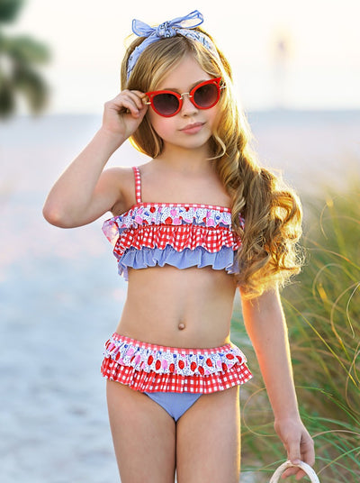 Mia Belle Girls Ruffled Top and Ruffled Bottoms Two Piece Swimsuit