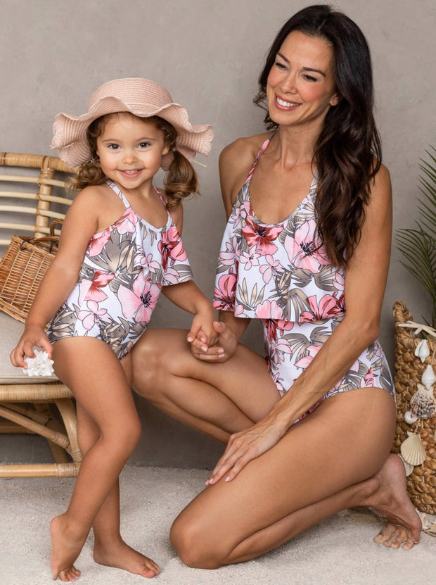 Mommy & Me Floral Print Ruffled One Piece Swimsuit 3T-14Y