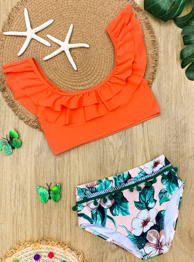 Girls Ruffled Top and Tropical Print Bottom Two Piece Swimsuit 10Y-12Y