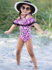 girls one piece swimsuit pink leopard print with ruffled off shoulder neckline 2T/3T to 10Y/12Y