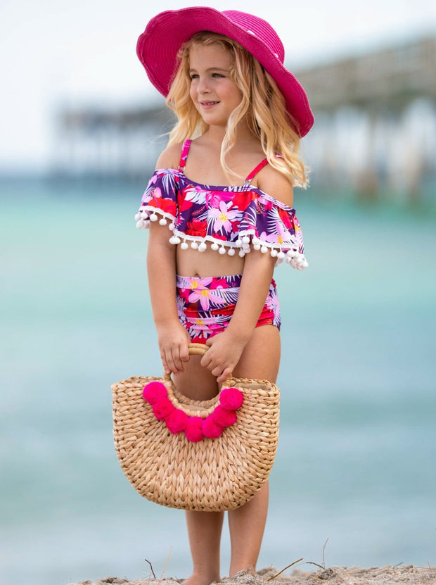Girls Ruffled Off Shoulder Flower Print Top and High Wasted Bottoms Two Piece Swimsuit 3T-14Y