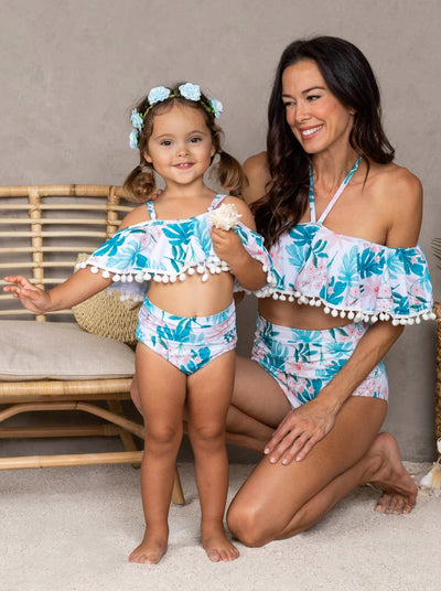 Mommy & Me Tropical Print Ruffled Off The Shoulder Two Piece Swimsuit 3T-8Y Mom 8-14