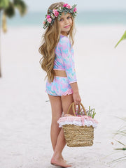 girls two piece rash guard swimsuit tie dye print bottom with fringes 2T-10Y pink-blue-purple