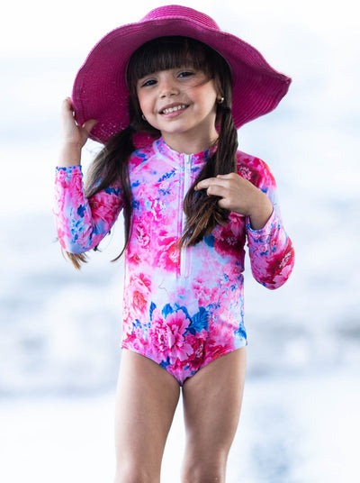 Girls Flower blue-pink-purple Zipper Rash Guard One Piece Swimsuit 4T-14Y
