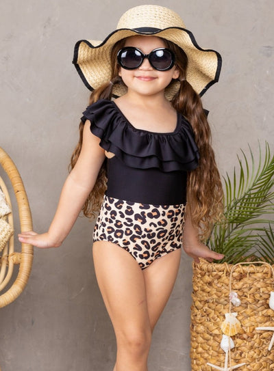 Girls Spring one piece swimsuit colorblock black torso with ruffles and leopard bottom 2T-10Y
