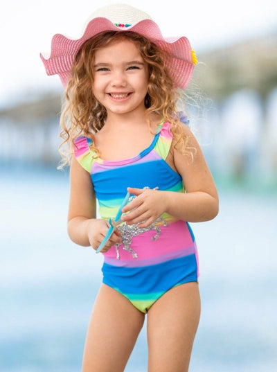 Girls Rainbow Riding Unicorn One Piece Swimsuit 12mon-12y