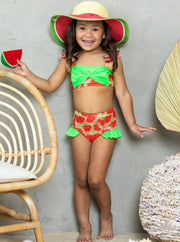 girls watermelon print neon green bow on top, neon green ruffles on bottoms two piece swimsuit 12MON- 10Y