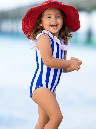 Girls large bib Striped One Piece Swimsuit Spring 2T-10Y