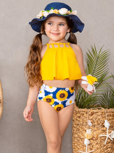 mommy and me two piece swimsuit yellow halter style top and high waisted sunflower bottoms 2T-10Y mom S-XXL