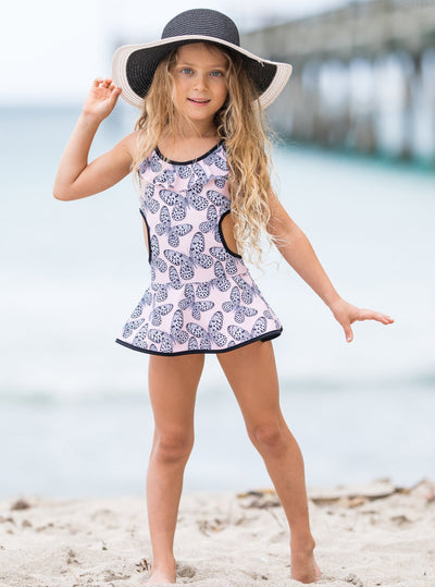 girls pink with butterflies one piece skirted swimsuit 2T/10Y