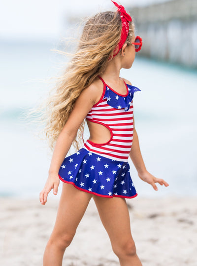 girls 4th of July stars and stripes one piece skirted swimsuit 2T-10Y