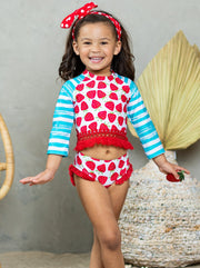 girls rash guard swimsuit long sleeves with strawberries 2T-12Y