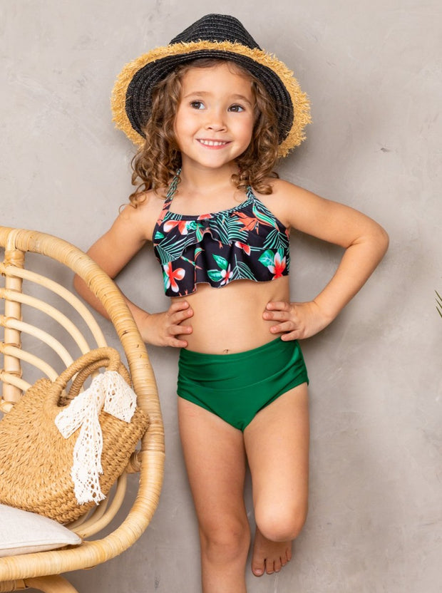 mommy and me two piece swimsuit set black-orange-teal tropical print top high waisted green bottoms 3t-12Y Mom s-XXL