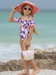 Girls Off the Shoulder Pom Pom Ruffle One Piece Swimsuit