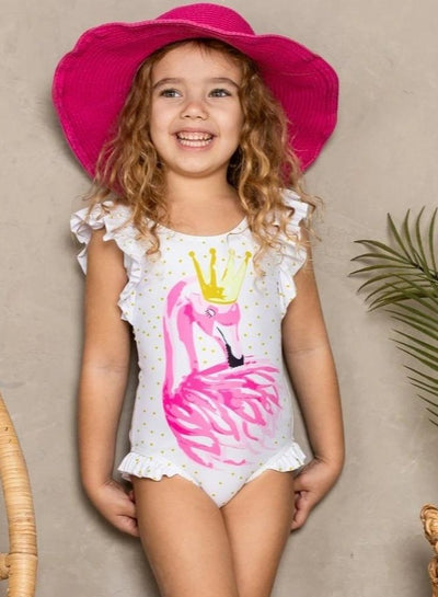 Girls Gold Polka Dot Flutter Sleeve Ruffled Flamingo One Piece Swimsuit - Girls One Piece Swimsuit