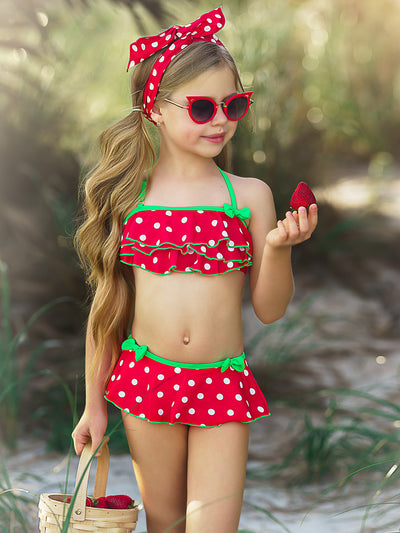 Girls Dots For Days Two Piece Swimsuit with Bows