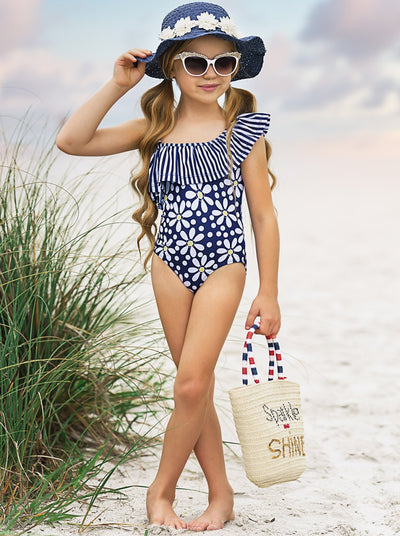 Girls Navy Striped One Shoulder Ruffle Floral One Piece Swimsuit